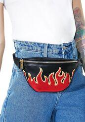 bag,flame bag,flames,fire flames,fanny pack,fanny packs,cute fanny pack,LEATHER FANNY PACK