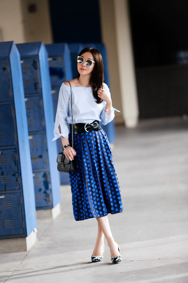 fit fab fun mom blogger shirt skirt shoes bag sunglasses jewels jacket midi skirt blue skirt shoulder bag pumps high heel pumps
