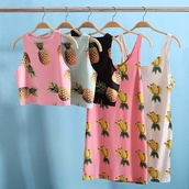 tank top,t-shirt,pineapple print,shirt,singlets,pineapple,crop tops,sleeveless,pink,white,blue shirt,black shirt,pineapple shirt,banana print,fruits,dress