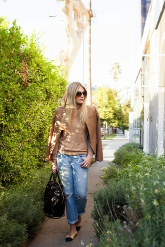 devon rachel blogger jacket sunglasses bag camel boyfriend jeans ballet flats