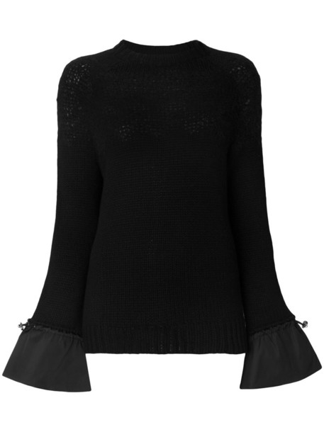 Moncler - frill sleeve sweater - women - Polyamide/Cashmere/Mohair/Wool - M, Black, Polyamide/Cashmere/Mohair/Wool