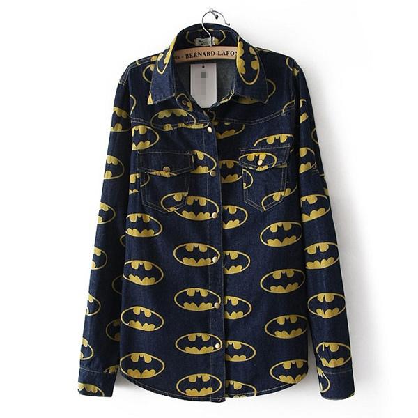 Women Lady Girl Retro Long Sleeve Denim Fabric Blue Jean Denim Shirt Tops Blouse | eBay