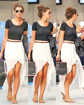 skirt,maxi skirt,sandals,shades,airplane,cute,navy,eleanor calder,crop tops,laid back,shoes,jewels,jumpsuit,blouse,white,long