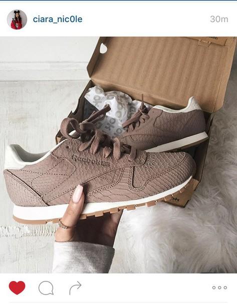 ad2c7844889931 shoes reebok classic Reebok trainers brown beige sporty animal print  crocodile fashion nude sneakers low top