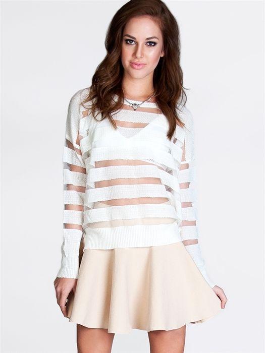 NEW Women Fashion Sexy Stripe Mesh Inset Knit Long Sleeve Sweater Top sz White