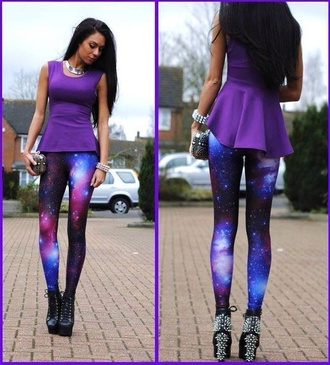 pants galaxy blue purple cute t-shirt shirt purple shirt leggings