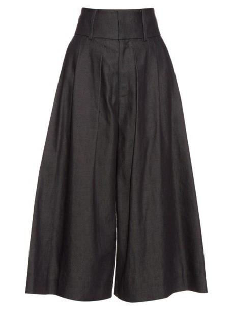 J.W.ANDERSON Pleat-front denim culottes in indigo
