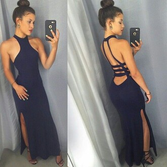 dress long dress prom dress navy dress
