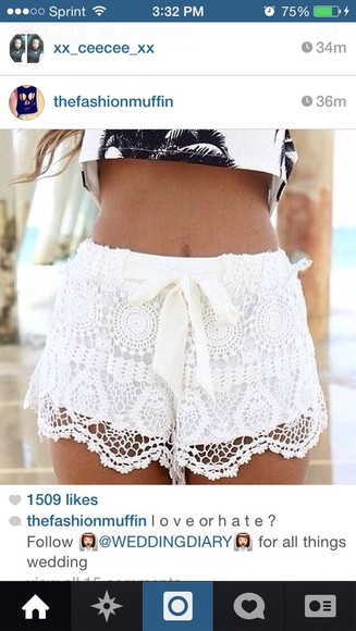 shorts lace lace shorts cute white white lace shorts