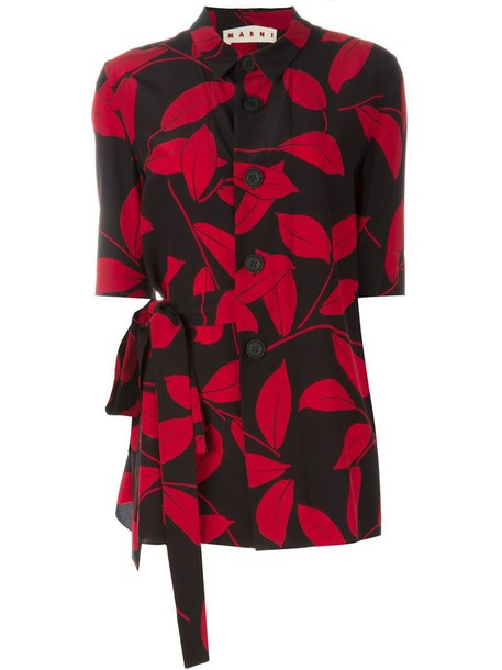 MARNI shirt women floral print black silk top