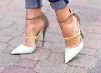 shoes pointed court heels lime colorblock