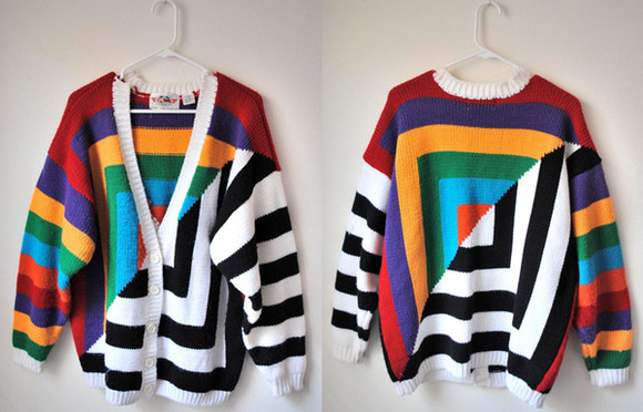 colorful patterns cardigan sweater pattern colorblock oversized cardigan longsleeve stripes