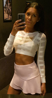 top,dream it wear it,white,white top,mesh,mesh top,long sleeves,long sleeve top,crop tops,white crop tops,party,cute,girly,sexy,sexy outfit,summer outfits,spring outfits,fall outfits,date outfit,birthday,clubwear,celebrity style,celebrity,celebstyle for less