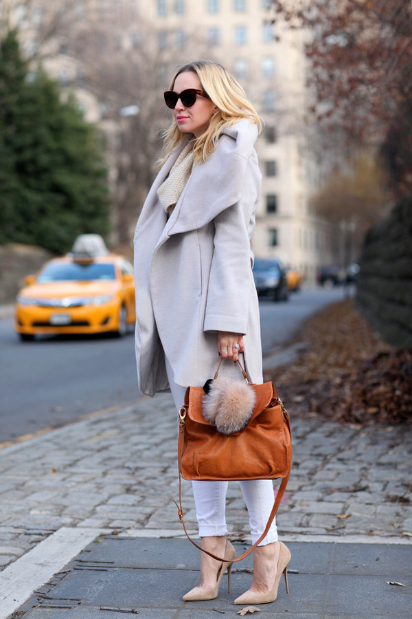 brooklyn blonde coat sweater jeans shoes bag sunglasses