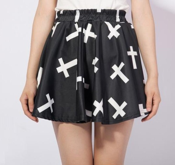 skirt black cute white cross