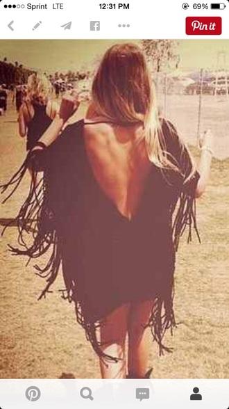 dress fringe black free-spirited coachella dress boho dress bohemian free spirited