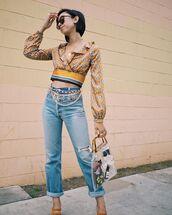 jeans,denim,crop tops,bag,shoes,round sunglasses