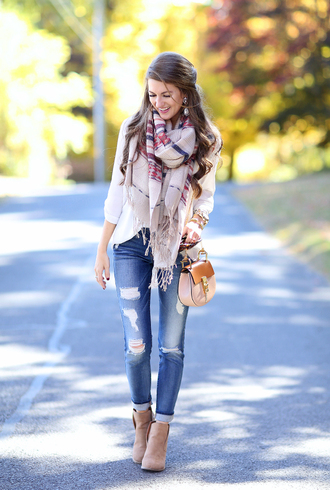 southern curls and pearls blogger scarf cardigan shoes jewels bag jeans