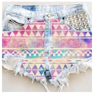 shorts galaxy print cute girly geometric aztec colorful color/pattern bright pretty denim denim shorts high waisted shorts spikes silver summer shorts nice cool perfect triangle short shorts printed shorts