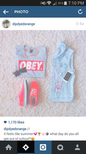 shirt,obey,grey t-shirt,shoes,red vans,t-shirt,top,grey,sunglasses,red,vans,denim jacket,vest,chain,necklace,pink,earphones,iphone case,white,jacket,sweater,awsomeness,dress,obey t shirt