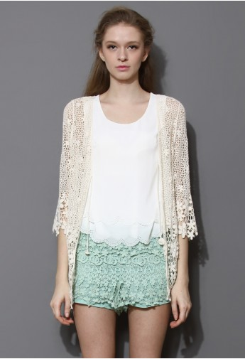 Delicate Hollowed Crochet Open Cardigan in Ivory - Retro, Indie and Unique Fashion