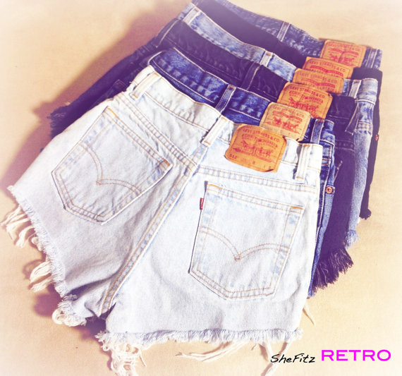 Vintage High Waisted Levis Cut Off Denim Shorts