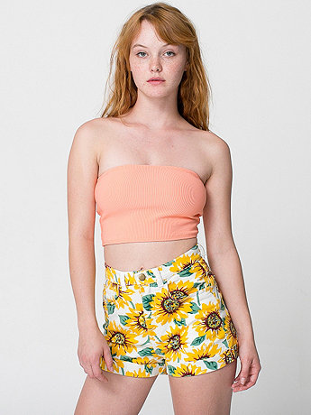 American Apparel - Sunflower Print Stretch Bull Denim High-Waist Cuff Short