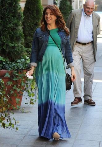 dress maternity dress teal blue alyson hannigan maxi dress