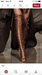 shoes,bronzer,bronzed,boot,knee high boots,trendingfashion,trendy,given.dk,designer,knee high gladiator sandals,gladiators,gladiator boots,boots,fashion
