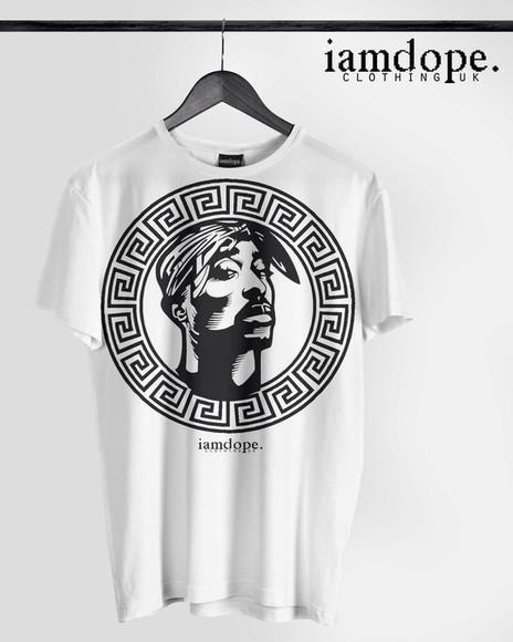 black and white t-shirt tupac versace