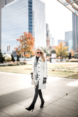 krystal schlegel blogger shoes scarf gloves jeans jacket bag winter outfits ankle boots white coat skinny jeans travel nordstrom black boots black gloves shorts