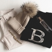hat,winter outfits,winter hat,fur,cute,beige,creme,jeans,bottoms,sweater,burberry,bracelets,gold,gold bracelet,jewels,perfume,clothes,black,pom pom beanie,top
