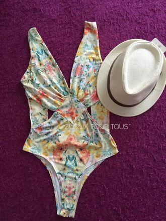 swimwear monokini cut out monokini floral bikini
