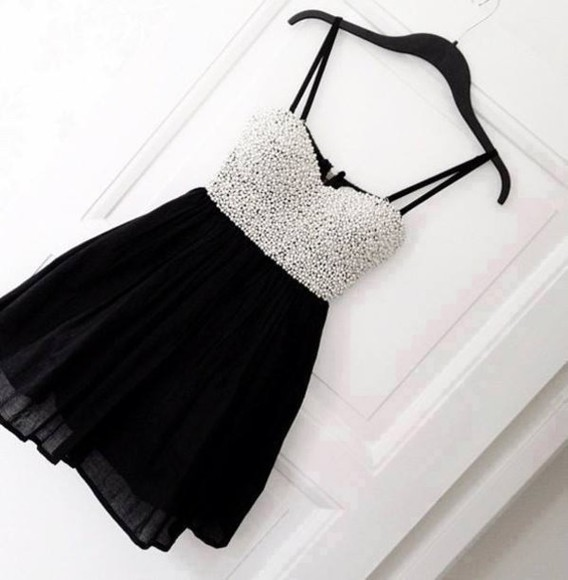 dress sequin party dress black and white