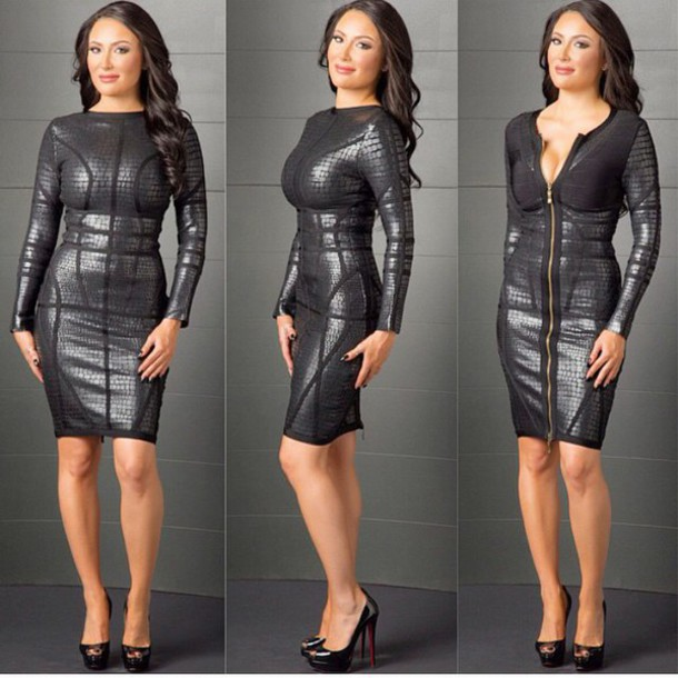 Turmec Herve Leger Long Sleeve Black Bandage Dress