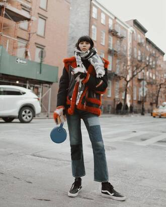 jacket tumblr black jacket shearling jacket shearling black shearling jacket denim jeans patchwork sneakers black sneakers scarf winter outfits