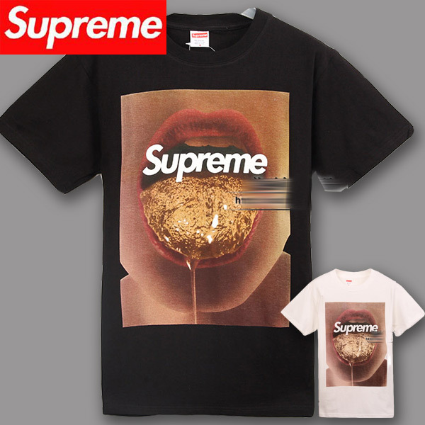 2014 spring new arrive supreme t shirt men's street wear gold tongue round neck fashion tee cotton clothes brand tag label-in T-Shirts from Apparel & Accessories on Aliexpress.com