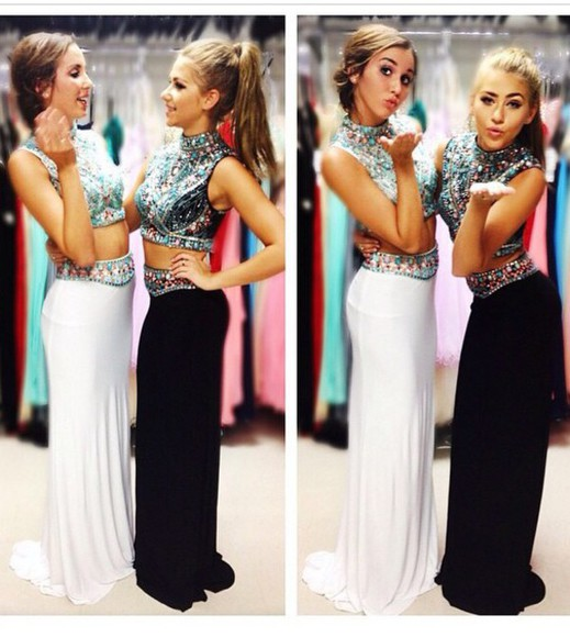 dress white dress embroidered white prom 2k15 crop tops embellished dress black prom dress
