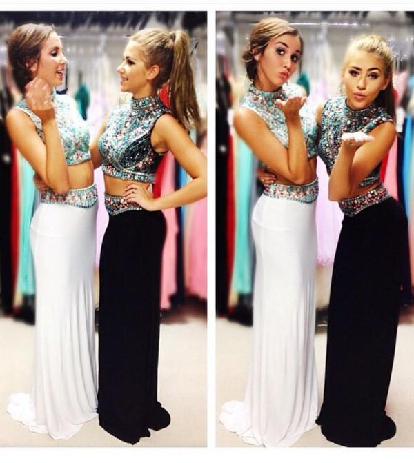 prom 2k15 crop tops embroidered embellished dress black white dress white dress prom dress