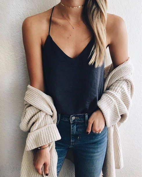 cardigan tumblr outfit tumblr white cardigan top blue top spaghetti strap denim  jeans blue jeans necklace d850c5ab8