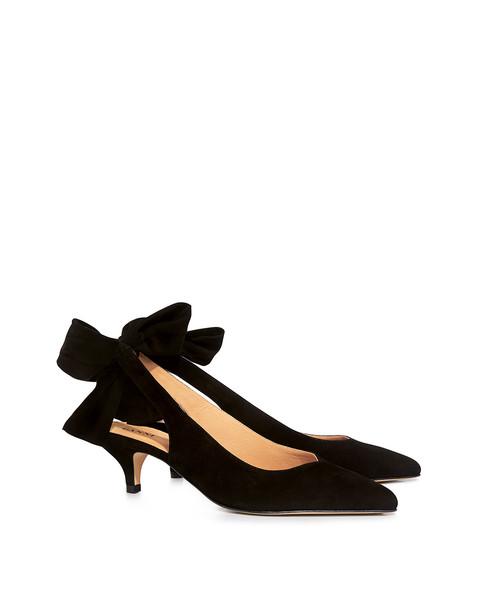 ce94658d45d7 Ganni Sabine Suede Pointed Toe Bow Tie Sling-back Heels Black ...