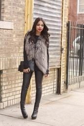 jacket,black boots,grey coat,thigh high boots,winter coat,red lipstick,cardigan,faux fur vest,winter outfits,shoes,guess,faux fur jacket,coat,fur vest,classy