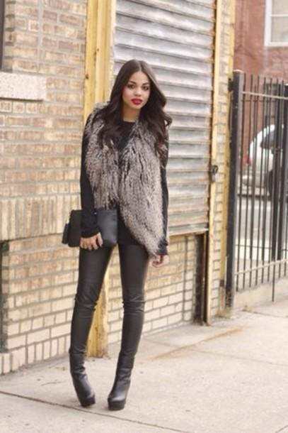 jacket black boots grey coat thigh high boots winter coat red lipstick cardigan faux fur vest winter outfits shoes guess faux fur jacket coat fur vest classy