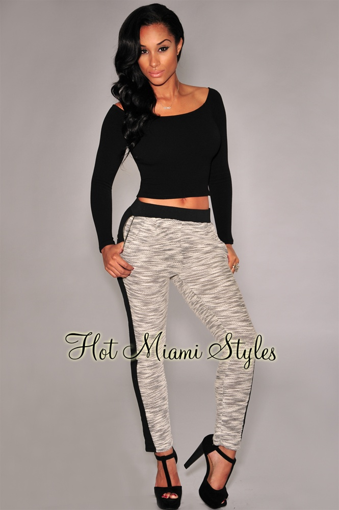 Black Accent Ivory Marled Jogger Pants