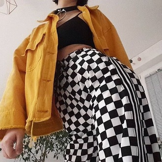 pants tumblr checkered checkered pants black black and white