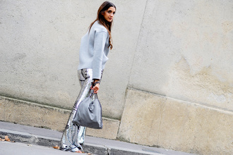 pants tumblr flare pants silver pants sequin pants sequins sweater grey sweater bag grey bag