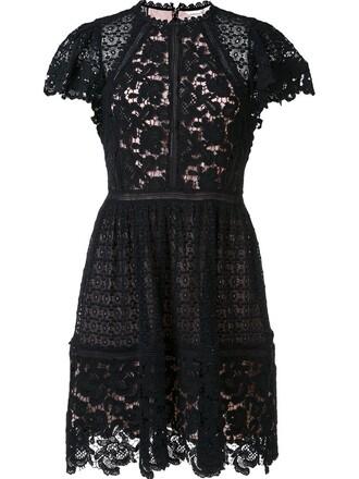 dress pleated women lace floral cotton black