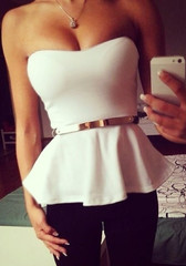 Flared White Top - With Belt