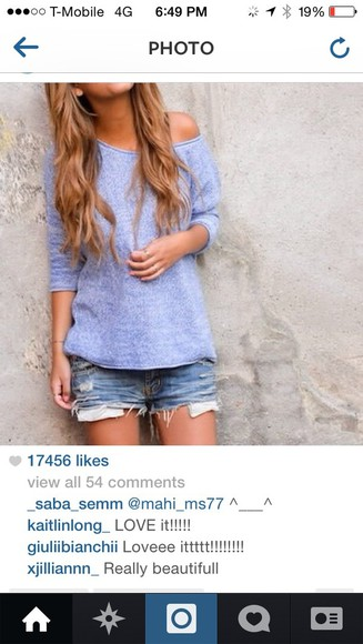 sweater off the shoulder sweater light blue sweater periwinkle