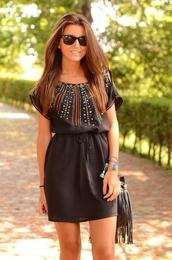 dress,black,short,cute,embellished,comfy,spring,boho